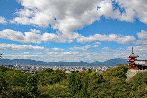 清水寺から京都タワーを望む
