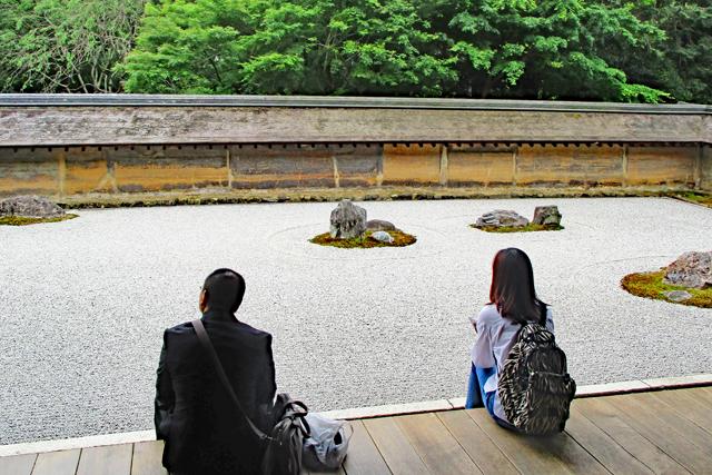 龍安寺・石庭を眺める人々