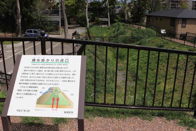 勝龍寺城・土塁空堀跡の横矢掛かり