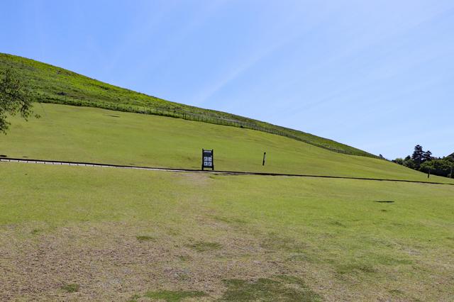 ゲート先の芝生斜面