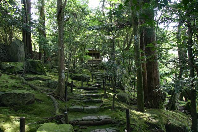 旧竹林院庭園・苔の道と四阿