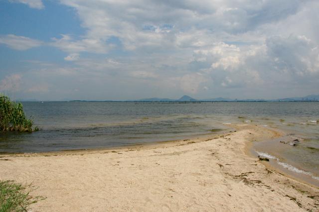 坂本城址公園から眺める琵琶湖
